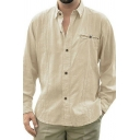 Casual Fashion Plain Long Sleeve False Pocket Decoration Button Up Relaxed Linen Shirt