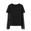 Cool Black Long Sleeve Round Neck Sheer Lace Patched Cotton Loose Tee for Girls