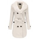 Fashion Women's Long Sleeve Fluffy Collar Double Breasted Bow Tie Waist Slim Fit Plain Mid Coat