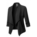 Elegant Women's Plain Long Sleeve Shawl Collar Asymmetric Fitted Draped-Front Blazer