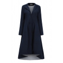 Cool Women's Long Sleeve Notch Collar Hook and Eye Pleated Baggy Plain Maxi Swing Coat