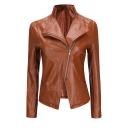 Women's Unique Long Sleeve Exaggerate Collar Zip Front Slit Front Fitted Leather Jacket in Yellow