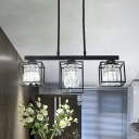 Black 3/4 Heads Ceiling Light Fixture Modernism K9 Crystal Square Island Ceiling Light