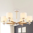 Wood Cylinder Chandelier Lighting Fixture Contemporary 6 Lights Suspension Pendant in White/Black with Beige Fabric Shade