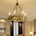 Black Deer Antler Chandelier Light Traditionary Resin 4/6 Bulbs Suspended Lighting Fixture