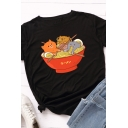 Trendy Cute Roll Up Sleeve Crew Neck Bear and Noodles Printed Loose Tee for Girls