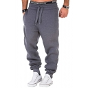 Charming Men's Whole Colored Drawstring Waist Loose Fit Basic Running Fitness Pants