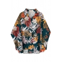Women's Fashion Navy Balloon Sleeve Lapel Collar Button Down All Over Floral Pattern Oversize Shirt
