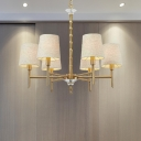 Contemporary Barrel Fabric Chandelier Light 6 Heads Ceiling Pendant Light in Brass for Living Room