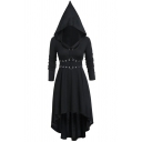 Women's Gothic Long Sleeve Pointy Hooded Crisscross Buckle Strap Long Pleated Cosplay Costumes Flowy Dress in Black