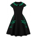 Halloween Chic Short Sleeve Peter Pan Collar Zip Side Bat Printed Contrasted Midi Pleated Flared Dress for Girls