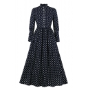 Formal Fancy Women's Long Sleeve Stand Collar Button Down Polka Dot Printed Ruffled Trim Long Pleated A-Line Dress in Navy