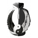 Cool Unisex Yin Yang Galaxy 3D Pattern Long Sleeve Black and White Pullover Hoodie