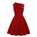 Formal Plain Sleeveless Asymmetric Neck Button Decoration Zip Side Mid Pleated Flared Dress for Women