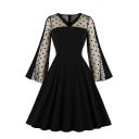 Sexy Fancy Girls' Bell Sleeve V-Neck Polka Dot Print Sheer Mesh Patched Zipper Back Long Pleated Flared Dress in Black