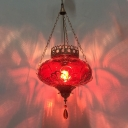 Vintage Lantern Pendant Lamp 1 Light Blown Glass Ceiling Light for in Red/Yellow/Blue for Restaurant