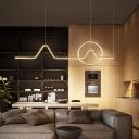 Metal Geometric Chandelier Lamp Contemporary Gold LED Pendant Light Kit, Warm/White Light