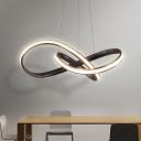 Twist Chandelier Light Fixture Modern Metal Coffee LED Ceiling Pendant Light, Warm/White Light