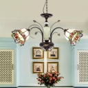 Stained Glass Blossom Chandelier Light Fixture Tiffany 3/5/6 Lights Bronze Hanging Lamp for Bedroom