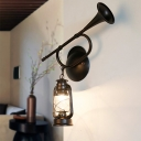 Black Trumpet Sconce Wall Lights Nautical Style Metal 1 Light Wall Sconce Lights for Hallway Foyer Corridor