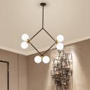 Mid Century Modern Modo Chandelier Opal Glass 6 Lights Hanging Pendant Light in Black/Gold