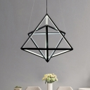Metal Frame Geometric Hanging Pendant Light Contemporary Led Chandelier in Black