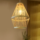 Curved Dining Room Hanging Pendant Light Bamboo 1 Light Modern Down Lighting in Wood