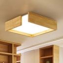 Square Bedroom Flush Ceiling Light Fixture Wood 16