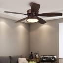LED Wooden Ceiling Fan Light Vintage Dark Coffee Drum Bedroom Semi Mount Lighting