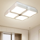 White Square Flush Mount Light Contemporary Metal LED Ceiling Light Fixture for Bedroom