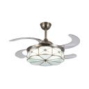 Traditionalism Scalloped Ceiling Fan Lighting LED Mouth-Blown White Opal Glass Semi Flush Mount