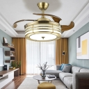 LED Round Ceiling Fan Vintage Gold Metal Semi Flush Mount Light for Living Room, Remote/Remote and Wall Control/Frequency Conversion