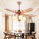 Vintage Dome Ceiling Fan Lamp 4 Lights White Glass Semi Flush Mount Chandelier in Rose Gold
