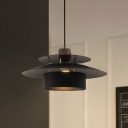 Metal Drum Down Lighting Pendant Modern 1 Light Black Suspension Lamp for Kitchen