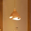 1 Head Bedroom Ceiling Light Modernism Beige Suspended Lighting Fixture with Dome Wood Shade