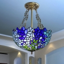 Blue Bowl Semi Flush Mount Light Mediterranean 3 Heads Handcrafted Art Glass Ceiling Fixture