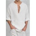Middle East Ethnic Style Plain V-Neck Long Sleeve Oversized Linen T-Shirt