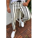 Classic Striped Pattern Slim Fit Pencil Pants Leisure Trousers