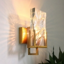 Gold 1 Light LED Wall Sconce Lighting Traditional Clear Crystal Ice Block Wall Mount Light