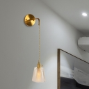 1-Bulb Clear Prismatic Glass Wall Sconce Traditionalist Gold Barrel/Flower/Cylinder Living Room Wall Mounted Light