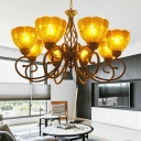 8 Lights Domed Shade Chandelier Light Tiffany Gold Crackle Glass Pendant Lighting Fixture for Living Room