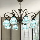 Tiffany Cone Pendant Chandelier 3/5/6 Lights Blue Glass Ceiling Suspension Lamp in Black for Living Room