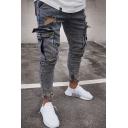 Mens Retro Solid Color Side Flap Pocket Zipper Fly Skinny Frayed Jeans