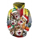 Yellow Christmas Cats 3D Pattern Long Sleeve Unisex Drawstring Hoodie