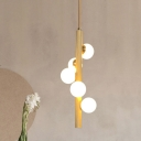 Wood Pipe Hanging Chandelier Modernist 5 Heads Beige Ceiling Pendant Light for Bedroom
