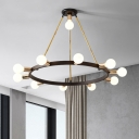 Contemporary Bubble Ceiling Chandelier Opal Frosted Glass 11 Heads Hanging Pendant Light in Black