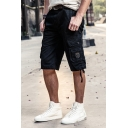 Mens Casual Straps Embellished Zip Fly Loose Fit Fitness Training Cargo Shorts