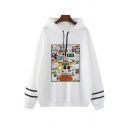Womens Funny Cartoon Print Striped Long Sleeve Oversized Drawstring Hoodie