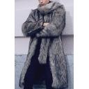Mens Designer Plain Long Sleeve Zip Placket Longline Gray Faux Fur Coat with Scarf