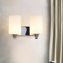 Modernist 2 Bulbs Wall Lighting Chrome Cylinder Sconce Light Fixture with Opal Glass Shade